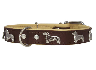 Real Leather Soft Leather Padded Dog Collar Dachshund Brown/Beige