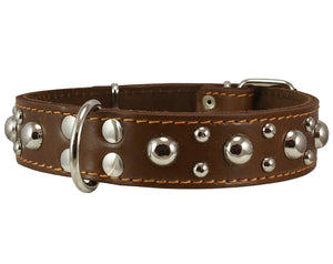 "Genuine 1.5"" Wide Thick Leather Studded Dog Collar. Fits 17""-21.5"" Neck, Large Breeds."