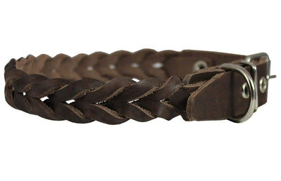 Brown Genuine Leather Braided Dog Collar Braided 1