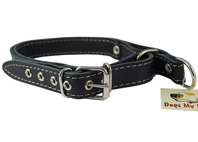 Martingale Genuine Black Double Ply Leather Dog Collar Choker Medium to Large Fits 17.5