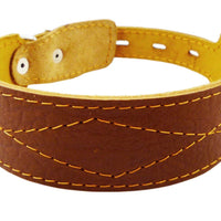 "Real Leather Tapered Dog Collar 1.75"" Wide, Fits 15""-19"" Neck, Medium"