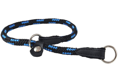 Dogs My Love Round Braided Rope Nylon Choke Dog Collar with Sliding Stopper Blue/Black