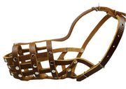 "Secure Leather Mesh Basket Dog Muzzle #13 Brown - Labrador, Husky (Circumf 12.25"", Snout 4.75"")"