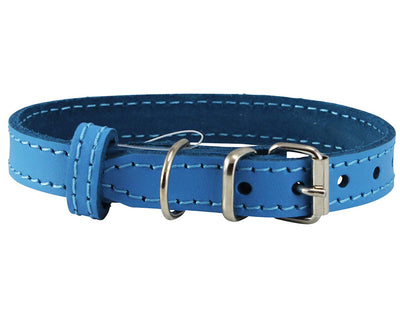 Genuine Leather Dog Collar for Smallest Dogs and Puppies 3 Sizes Blue