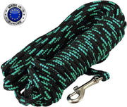 "Dogs My Love Braided Nylon Rope Dog Leash, Black/Green 15/30/45/60Ft 3/8"" Diam. Train. Lead Medium"