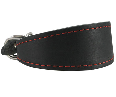 Black Real Leather Tapered Dog Collar 1,5