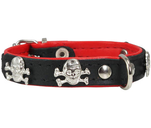 Real Leather Skull Studded Padded Dog Collar Black/Red