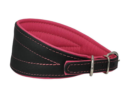 Real Leather Extra Wide Padded Tapered Dog Collar Glossy Black Greyhound Deerhound Dachshund Pink