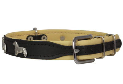 Real Leather Soft Leather Padded Dog Collar Dachshund Black/Beige