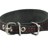 "Black Real Leather Tapered Dog Collar 1,5"" Wide, Fits 8.5""-10.5"" Neck, Small, Dachshund"