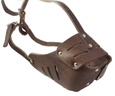 Real Leather Cage Basket Secure Dog Muzzle #130 Brown - Rottweiler, Boxer(Circumf 13.5