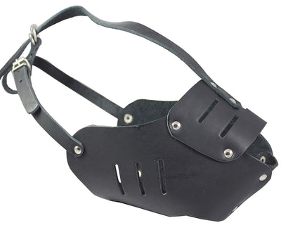 Real Leather Cage Basket Secure Dog Muzzle #131 Black (Circumference 15