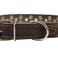 "Genuine Leather Studded Dog Collar 25""x1.5"" Brown Fits 18""-21"" Neck Large"
