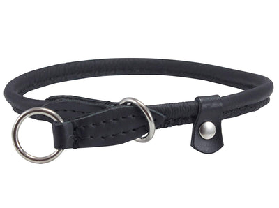 Round High Quality Genuine Rolled Leather Choke Dog Collar Black