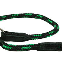Dogs My Love Round Braided Rope Nylon Choke Dog Collar with Sliding Stopper Green/Black