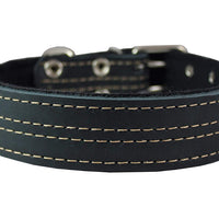 "Genuine Leather Dog Collar, Padded Black, 1.5"" Wide. Fits 14""-18"" Neck Size, Medium"