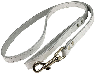Dogs My Love Genuine Leather Dog Leash 4-Feet Wide White