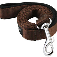 Dogs My Love 4ft Long Neoprene Padded Handle Nylon Leash 4 Sizes Brown