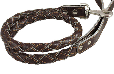 4-thong Round Fully Braided Genuine Leather Dog Leash 43