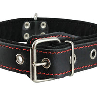 "Genuine Leather Braided Studded Dog Collar, Red on Black 1.5"" Wide. Fits 17""-22"" Neck."