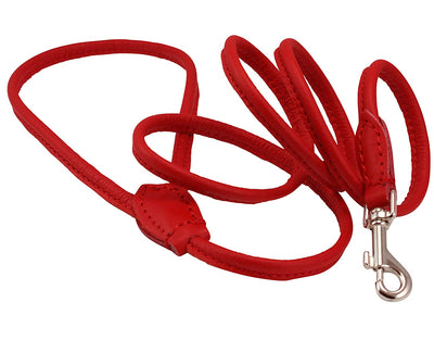 Dogs My Love 4ft Long Round Genuine Rolled Leather Dog Leash Red