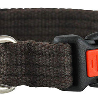 Cotton Web Adjustable Dog Collar with Locking Device 4 Sizes Brown