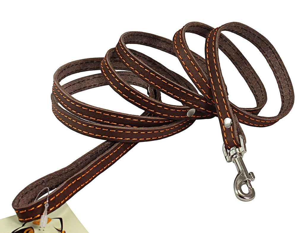 "6' Long Genuine Leather Braided Dog Leash Brown 3/8"" Wide for Small Dogs and Puppies"