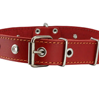 "Grey Real Leather Red Spiked Dog Collar Spikes, 1.25"" Wide. Fits 15.5""-20"" Neck, Medium Breeds"