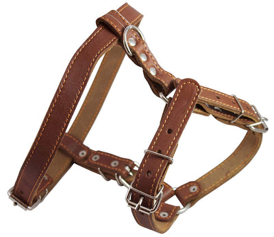 Genuine Leather Dog Walking Harness Medium Brown, 21