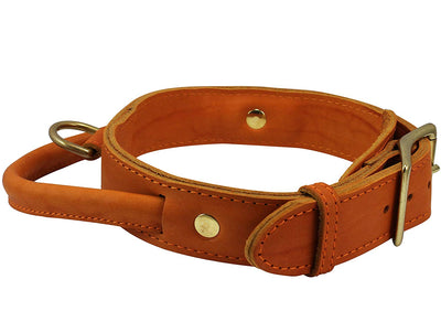 Genuine Leather Dog Collar, Rolled Leather Handle Tan