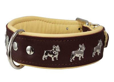 Real Leather Soft Leather Padded Dog Collar Bulldog Brown/Beige