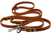 "Tan 6-Way Multifunctional Leather Dog Leash Adjustable Schutzhund Lead 49""-94"" Long 5/8"" Wide(15 mm)"