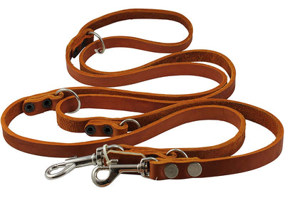 Tan 6-Way Multifunctional Leather Dog Leash Adjustable Schutzhund Lead 49