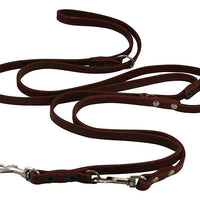 "Brown 6 Way Multifunctional Leather Dog Leash, Adjustable Lead 49""-94"" Long 3/8"" Wide (10 mm) Small"