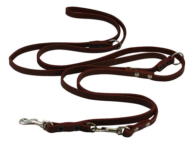 Brown 6 Way Multifunctional Leather Dog Leash, Adjustable Lead 49