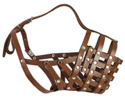 "Secure Leather Mesh Basket Dog Muzzle #16 Brown - Great Dane, Mastiff (Circumf 15.5"", Snout 4.5"")"