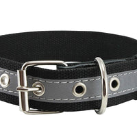 "Cotton Web/Leather Reflective Dog Collar 18"" Long 3/4"" Wide Fits 12""-16"" Neck, Poodle, Spaniel"