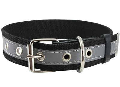 Cotton Web/Leather Reflective Dog Collar 18