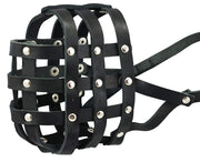 "Genuine Leather Dog Basket Dog Muzzle #111 (Circumference 14.3"", Snout 4"") Pitbull, Rottweiler"