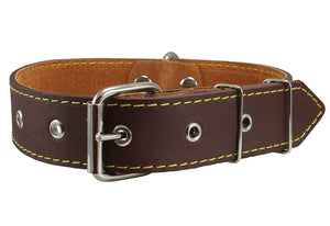 "Real Thick Leather Dog Collar 16""-22"" Neck Size, 1.5"" Wide, Bullterrier, Pitbull"