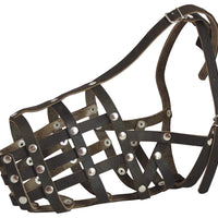 "Secure Genuine Leather Mesh Dog Basket Muzzle - German Shepherd Male (Circumf 13"", Snout Length 5"")"