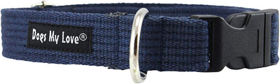 Cotton Web Adjustable Dog Collar 4 Sizes Blue