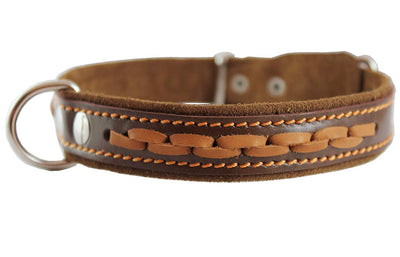Brown Genuine Leather Braided Dog Collar, 1