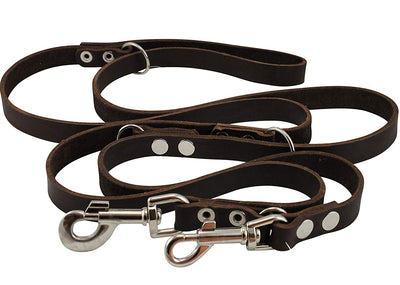 Dogs My Love Brown 6 Way Euro Leather Dog Leash, Adjustable  49