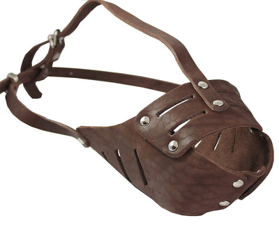 Real Leather Cage Basket Secure Dog Muzzle #118 Brown - Pit Bull (Circumf 11.8