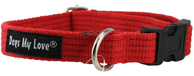 Cotton Web Adjustable Dog Collar 4 Sizes Red
