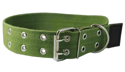 Heavy Duty Cotton Web and Leather Dog Collar 1.75