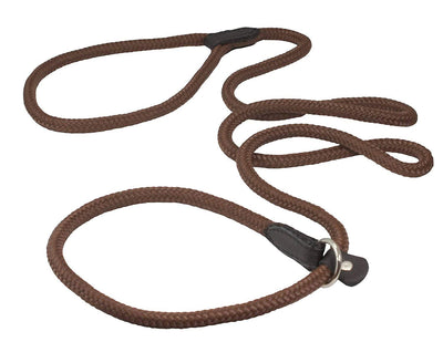 Dogs My Love Nylon Rope Slip Dog Lead Adjustable Collar and Leash 6ft Long Brown