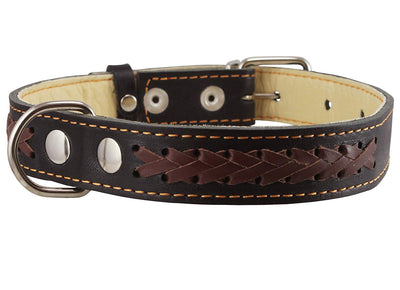 Genuine Leather Braided Dog Collar, 1