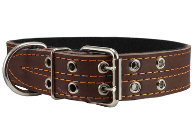 Genuine Leather Dog Collar, Padded, Brown 1.5